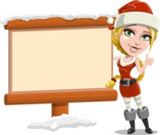 Cute Christmas Girl Cartoon Vector Character - Choosing the Way in Snow