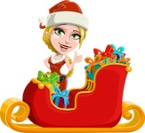 Cute Christmas Girl Cartoon Vector Character - Christmas Sleigh