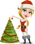 Cute Christmas Girl Cartoon Vector Character - Decorating Christmas Tree