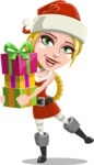 Cute Christmas Girl Cartoon Vector Character - Giving Christmas Presents