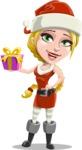Cute Christmas Girl Cartoon Vector Character - Holding a Gift