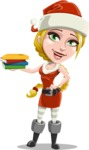 Cute Christmas Girl Cartoon Vector Character - Holding Books