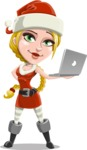 Cute Christmas Girl Cartoon Vector Character - Holsing a Laptop Present
