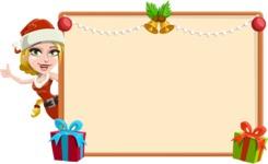 Cute Christmas Girl Cartoon Vector Character - Making a Christmas Presentation Template