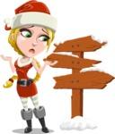 Cute Christmas Girl Cartoon Vector Character - Making a Presentation on a Christmas Board