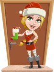 Cute Christmas Girl Cartoon Vector Character - On a House Door With Gifts