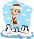 Cute Christmas Girl Cartoon Vector Character - On an Iceberg with Penguins