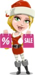 Cute Christmas Girl Cartoon Vector Character - On Christmas Sale
