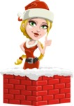 Cute Christmas Girl Cartoon Vector Character - Popping out of a Chimney