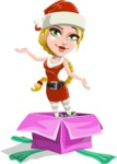 Cute Christmas Girl Cartoon Vector Character - popping out of a Christmas Box