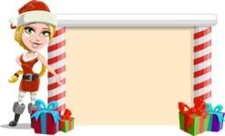 Cute Christmas Girl Cartoon Vector Character - Presenting on a Blank Christmas Whiteboard