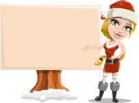 Cute Christmas Girl Cartoon Vector Character - Presenting on a Blank Whiteboard for Christmas