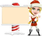 Cute Christmas Girl Cartoon Vector Character - Showing a Blank Christmas Sign