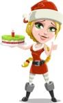 Cute Christmas Girl Cartoon Vector Character - With a Cake for Christmas