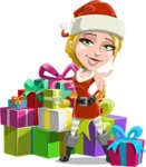 Cute Christmas Girl Cartoon Vector Character - With a Lot of Presents