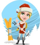 Cute Christmas Girl Cartoon Vector Character - With Beautiful Snow Background Concept