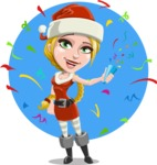 Cute Christmas Girl Cartoon Vector Character - With Celebrating Background with Confetti