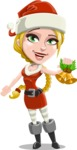 Cute Christmas Girl Cartoon Vector Character - With Christmas Decoration - Christmas Bells