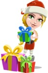Cute Christmas Girl Cartoon Vector Character - With Christmas Gifts