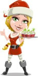 Cute Christmas Girl Cartoon Vector Character - With Christmas Muffins