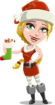 Cute Christmas Girl Cartoon Vector Character - With Christmas Sock