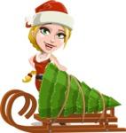 Cute Christmas Girl Cartoon Vector Character - With Christmas Tree on a Sleigh