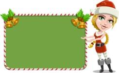 Cute Christmas Girl Cartoon Vector Character - With Cool Christmas Board