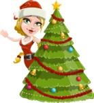 Cute Christmas Girl Cartoon Vector Character - With Cool Christmas Tree