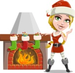 Cute Christmas Girl Cartoon Vector Character - With Decorated Fireplace
