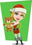 Cute Christmas Girl Cartoon Vector Character - With Flat Bear Illustration