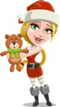 Cute Christmas Girl Cartoon Vector Character - With Plush Bear Gift