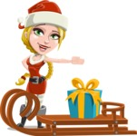 Cute Christmas Girl Cartoon Vector Character - With Present on a Sleigh