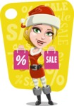 Cute Christmas Girl Cartoon Vector Character - With Sale Background for Discounts Design