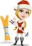 Cute Christmas Girl Cartoon Vector Character - With Ski