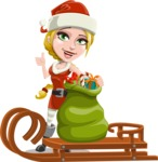 Cute Christmas Girl Cartoon Vector Character - With Sleigh and Sack with Gifts
