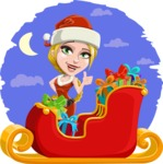 Cute Christmas Girl Cartoon Vector Character - With Sleigh Colorful Illustration