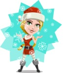 Cute Christmas Girl Cartoon Vector Character - With Snowing Background