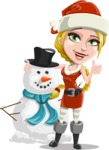 Cute Christmas Girl Cartoon Vector Character - With Snowman
