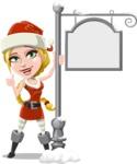 Cute Christmas Girl Cartoon Vector Character - With Steet Sign