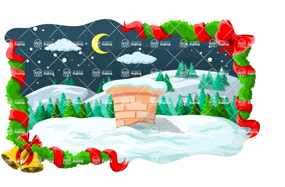 Christmas Vectors - Mega Bundle - Chimney During Christmas Night