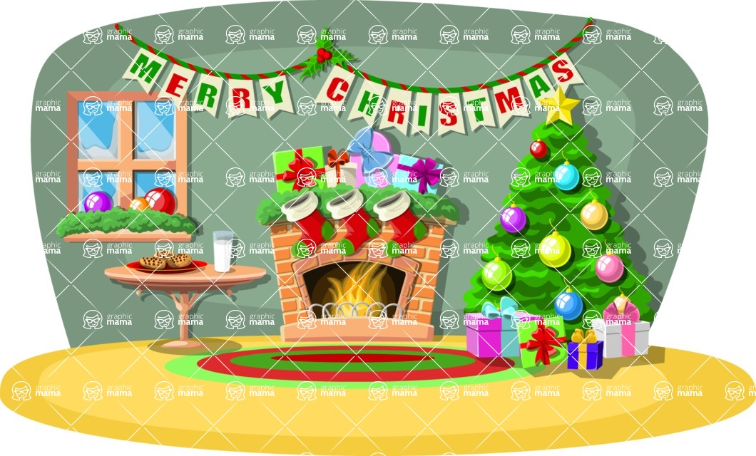 Christmas Vectors - Mega Bundle - Christmas Decorated Room