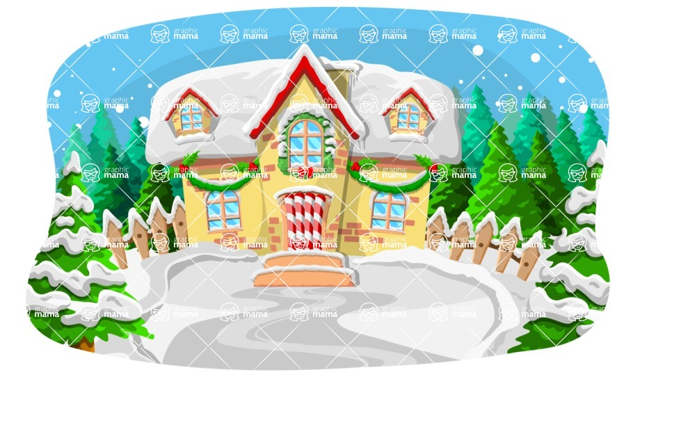 Christmas Vectors - Mega Bundle - Christmas House in Snow