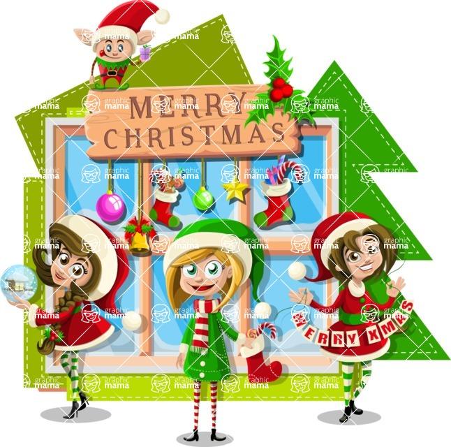 Christmas Vectors - Mega Bundle - Girls Wishing Merry Christmas