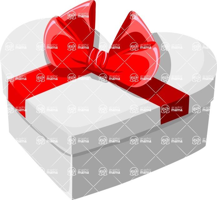 Christmas Vectors - Mega Bundle - Heart-shaped Gift Box