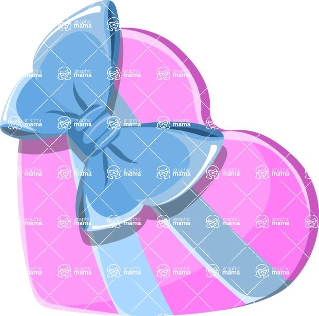 Christmas Vectors - Mega Bundle - Heart-shaped Gift With a Bow