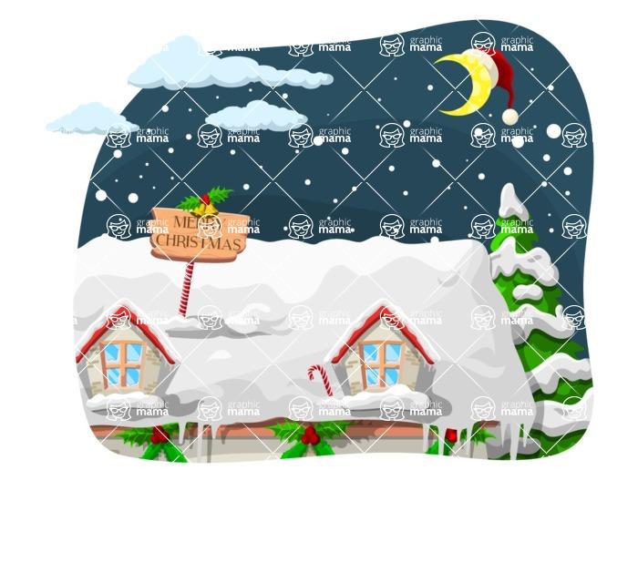 Christmas Vectors - Mega Bundle - House Roof Christmas Night Scenery