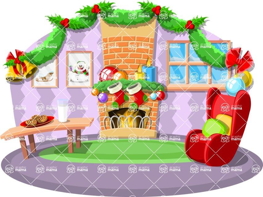 Christmas Vectors - Mega Bundle - Living Room on Christmas Eve