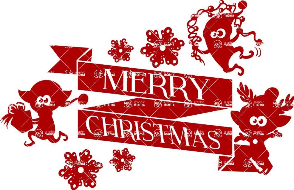 Christmas Vectors - Mega Bundle - Merry Christmas Ribbon Silhouette