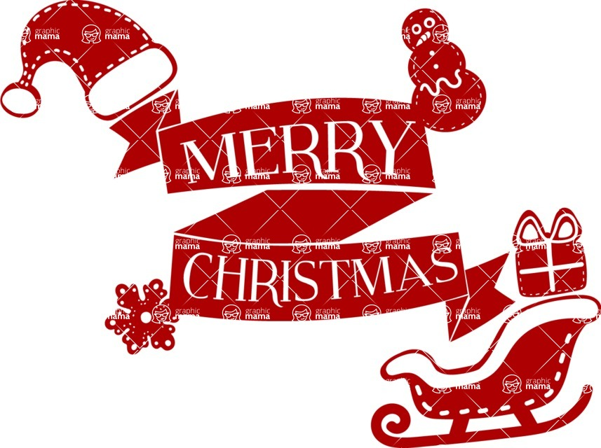 Christmas Vectors - Mega Bundle - Merry Christmas Sticker