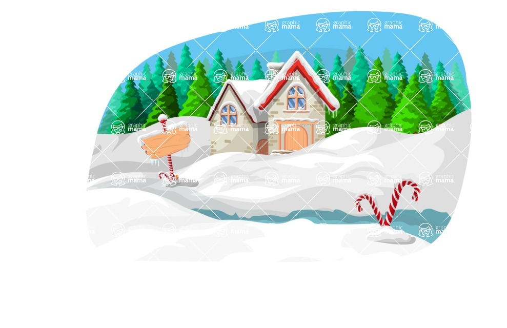 Christmas Vectors - Mega Bundle - Mountain Houses in Snow